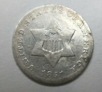 1851 Three Cent Silver Trime 3c Extremely Fine Details Cleaned