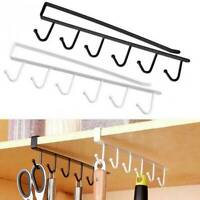 6 Hooks Cup Holder Hang Kitchen Cabinet Under Shelf Storage Rack Organizer Hot