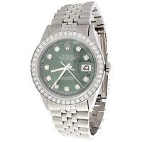 Mens Rolex 36mm DateJust 16014 Diamond Watch Jubilee Band Dark Green Dial 2 CT.