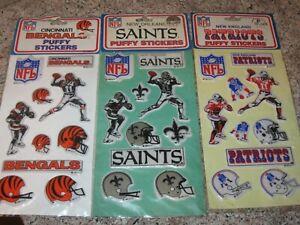 Vintage Unused 1983 NFL Football- Saints- Bengals- Patriots Puffy Stickers