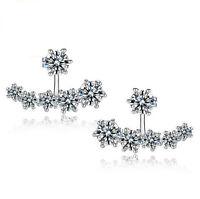 Women's 925 Sterling Silver Earrings Luxury crystal Ear stud fashion jewelry