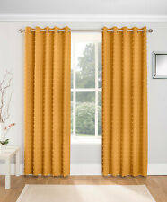 Honey Mustard Aruba Textured Pom Poms Voile Thin Lined Ring Top Curtains Pair