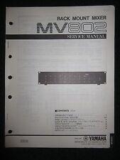 Yamaha Rack Mount Mixer MV802 Service Shop Manual Schematics Parts List MV-802