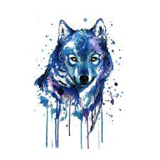 Flash Einmal Temporary Klebe Tattoo Wolf Blau Lila Party Geschenk Strand Neu
