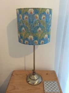 HANDMADE LAMPSHADE- LIBERTY FABRIC - HERA - AQUA - PEACOCK FEATHER DESIGN