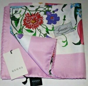 $480 NWT NEW Gucci Pink Border Floral Flower Insects Silk Scarf Shawl