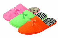 Ladies Womens Slippers Super Soft Comfy Faux Fur Neon With Animal Print Soles
