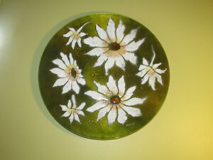 """LARGE 13.5"""" Enameled Copper Charger Wall Art Sascha Brastoff Olive Green Daisy"""