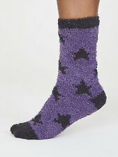 Thought Recycled Polyester Fluffy Purple Star Ankle Length Socks Size 4-7 Eco