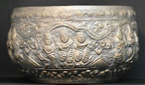 Silver embossed bowl from East Asia Thailand 4.5 inches across