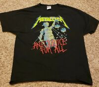 METALLICA FULL COLOR AND JUSTICE FOR HEAVY METAL BLACK T SHIRT