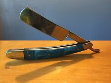 Vintage Shaving Barber Light Blue Handle Surgical Steel Blade Straight Razor