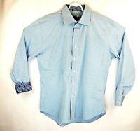 Robert Graham Mens Large Blue Checkered Paisley Flip Cuff Long Sleeve Shirt