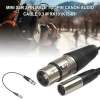 11in XLR 3Pin Male To Female for Pocket Cameras Microphone Audio Extension Cable