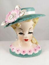Vintage Lady Head Vase with Hat & Earrings Rubens 498 Japan Green & Pink Flowers
