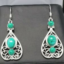 Boho Jewelry Green Turquoise Hook Earrings Sterling Silver Antique Jewelry Gift