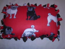 Pillow~Pug Puppy Dog Pet Lover Hand Tied Double Sided Fleece Pillow~Brand New