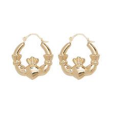 9ct Yellow Gold Claddagh Hoop Creole Earrings