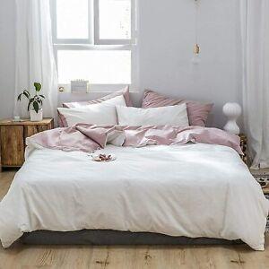 135x200 Weiß Rosa Uni Wende Bettwäsche Set Doppelbett Atmungsaktiv Microfaser
