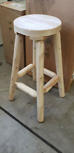 Pair of Cedar Looks Rustic Cabin White Cedar Bar Stools