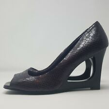 Ladies High Modernist Shoes UK 7 Purple Faux Leather Snake Print Sculpted Wedge