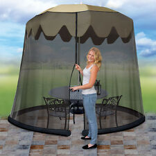 Patio Umbrella Drape Mesh Bug Screen - Fits 7.5 Foot Umbrella - Zip Close