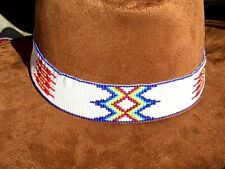 NATIVE STYLE BEADED HANDCRAFTED RED BLUE WHITE HATBAND/ HEADBAND H54/9