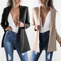 Women's Casual Lapel Blazer Suit Jacket Long Sleeve Slim Cardigan Coat Outwear