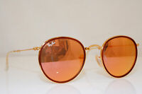 RAY-BAN Mens Womens Mirror Sunglasses Gold Round FOLDING ROSE GOLD RB 3517 26302