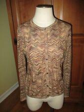 Ladies Missoni for Target Gold Brown Metallic Chevron Stripes Cardigan Sweater L