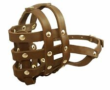 "Genuine Leather Basket Dog Muzzle 13""- 2.5""snout size Boxer English Bulldog REKS"