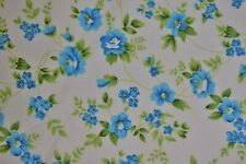 """Quilt Fabric Blue Green Floral Print Craft Apparel Upholstery 45"""" Wide #102"""