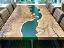 "Epoxy resin Dining Table Top in Acacia Wood ""78x42inch"" in 35MM with Iron Legs"