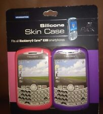 Pink and Purple Blackberry Curve Silicone Skin Case Set