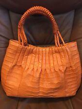 $3700 Nancy Gonzalez Orange Crocodile Tote Bag Purse Handbag New