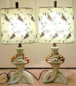 Vintage Mid Century Porcelain Boudoir Table Lamps w/ Original Fiberglass Shades