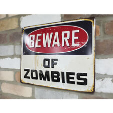 BEWARE OF ZOMBIES Metal Embossed Sign Vintage Retro Style Notice