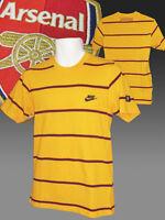 VINTAGE NIKE CLUB DE FÚTBOL ARSENAL Estampada Camiseta Algodón Amarillo Pequeño