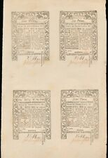 1786 Rhode Island Colonial Currency Uncut Sheet of 4 Notes - Never Folded!