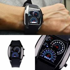 Men's Blue LED Light Aviation Speedometer Steel Case Wrist Watch Black HQ 2017