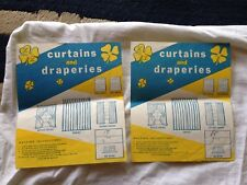 Pair vtg illustrated LABELS curtains and draperies RN 20381 washing instructions