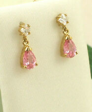 Sassi EGZK1076 9ct 375 Gold Pear Shape Pink Cubic Zirconia CZ Drop Earrings