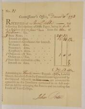 1793 Revolutionary War Document Connecticut Tax Collect Yale College University