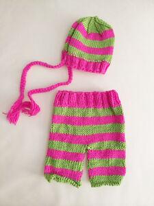 Handmade Baby Girl Crochet Pants & Beanie Set for Newborn Photo Props Christmas