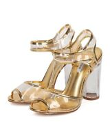 New Women Cape Robbin Benny13 Metallic PU Peep Toe Lucite Ankle Strap Block Heel