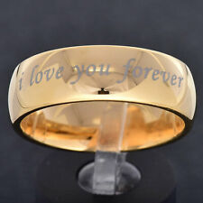 """Tungsten Jewelry Gold Plated """"i Love you for ever"""" Etch Women's Wedding Ring"""