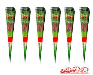 6 X New Fresh Quality Neha Natural Henna Mehndi Tattoo Pen Cone Darkest Brown
