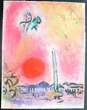 """Superbe Lithographie de Marc Chagall  """" Place de la Concorde, Regards sur Paris"""""""