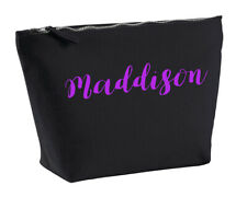 Maddison Personalised Make Up Toiletriy Bag In Black Colour Purple Makeup