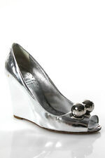 Moschino Silver Patent Leather Silver Tone Ball Peep Toe Wedge Shoe Size 37 7